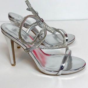 NWOB stunning silver strappy stilettos